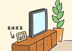 テレビの横に置いてある家族写真
