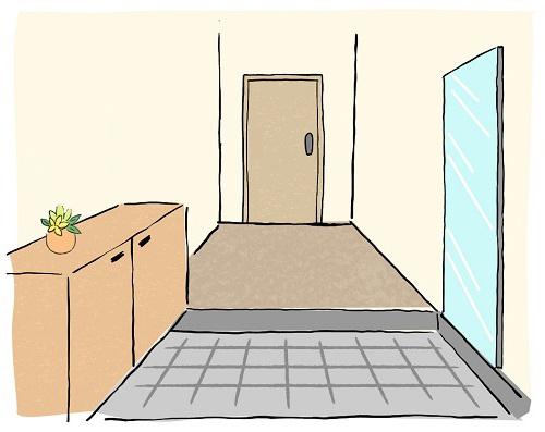 玄関の左に鏡がある