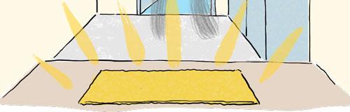 ゴールドの玄関マット