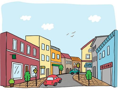 賑わう街の風景