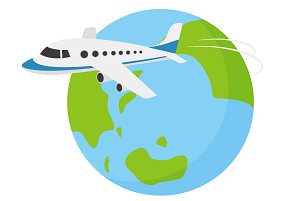 地球と飛行機(海外旅行のイメージ)