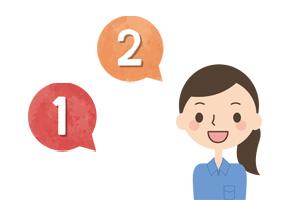 1・2 と話す女性