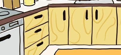 黄色・オレンジのキッチン