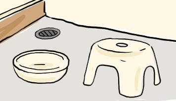 バスルームの椅子と洗面器