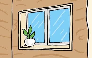 バスルームの観葉植物のイラスト
