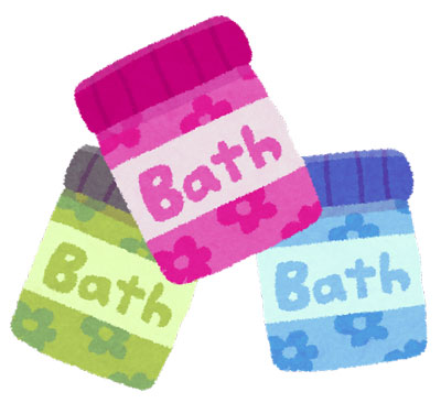ピンク・緑・青の入浴剤イラスト