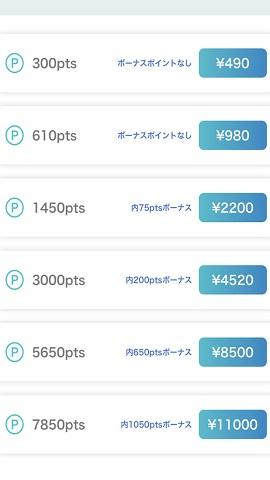 チャット占いアプリ『リスミィ』鑑定に必要なポイントを購入する画面