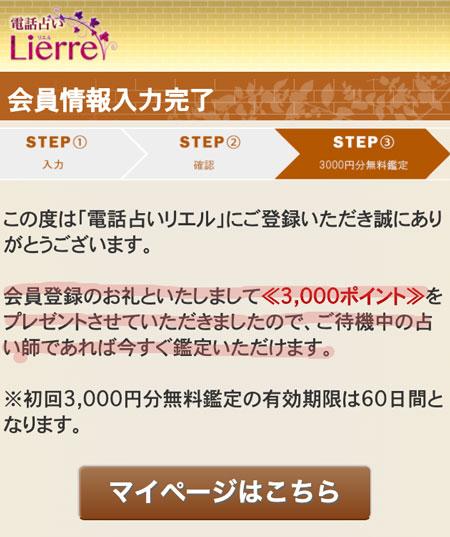 会員登録完了・3000円分ポイント獲得画面