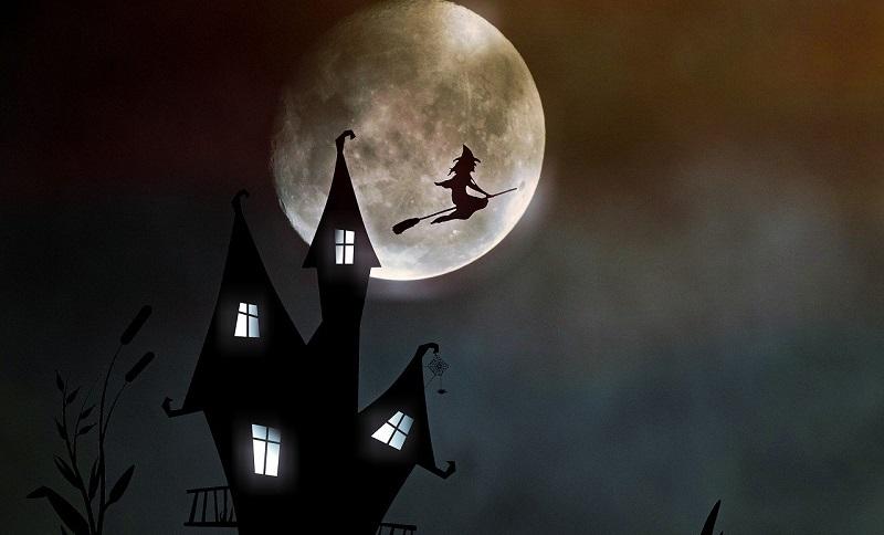 魔女と月と家のイラスト