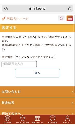 電話占いニーケ 鑑定を依頼する場合の電話番号入力欄が表示された画面
