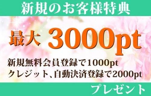 最大3000円!豪華な初回入会特典