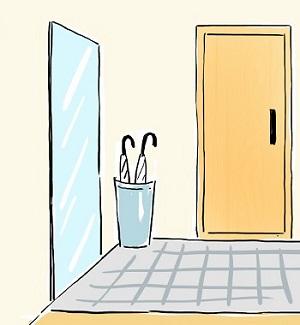 鏡が置いてある玄関