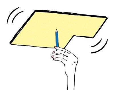 厚紙に鉛筆をあてて中心を調べる
