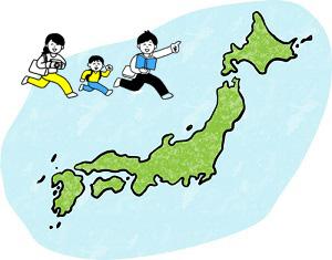 日本地図と旅行する家族のイラスト