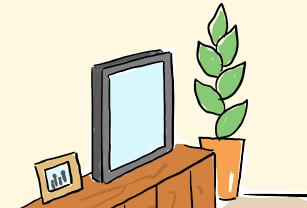 テレビの横に観葉植物