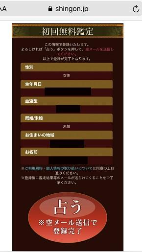 メール占い『神言鑑定』初回無料鑑定の情報入力画面