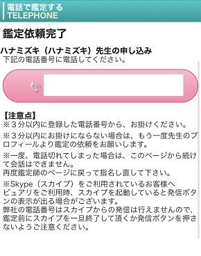 電話占いピュアリ 鑑定申込時の電話番号入力ページ