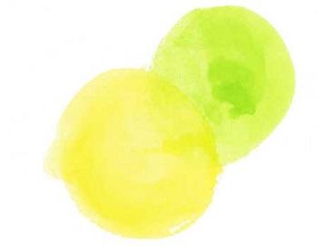 金運のイメージ画像(黄色の丸い形が二つ描かれたイラスト)